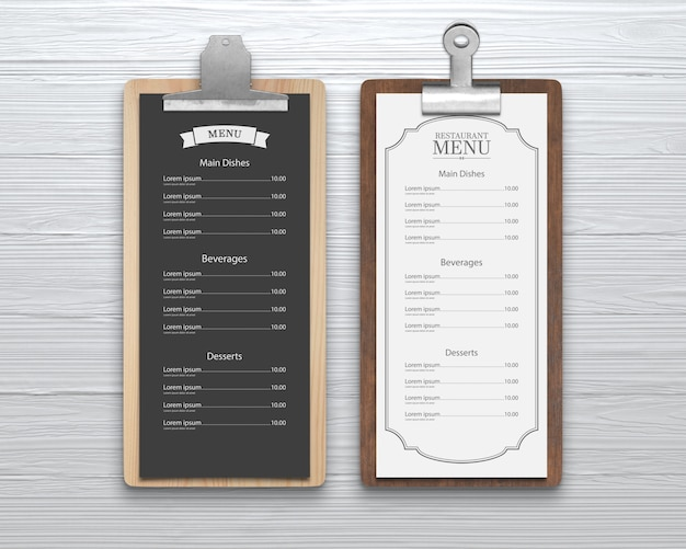 Menu do restaurante mockup