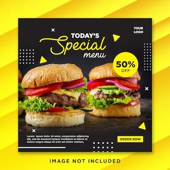 Menu especial de burger pós-mídia social