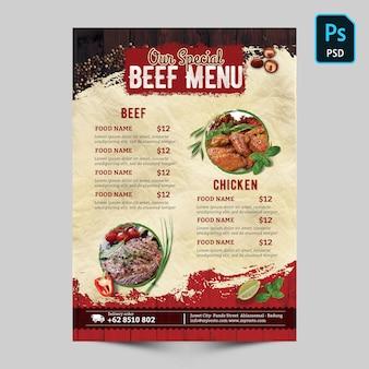 Menu especial de carne
