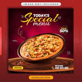 Menu especial ou modelo promocional de mídia social de restaurante