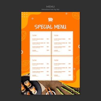 Menu especial para restaurante de sushi