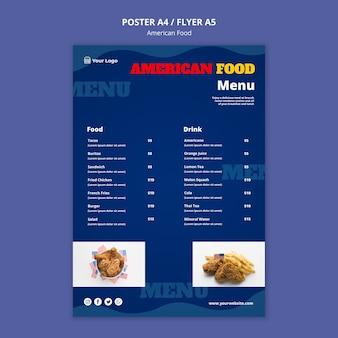 Menu para restaurante de comida americana