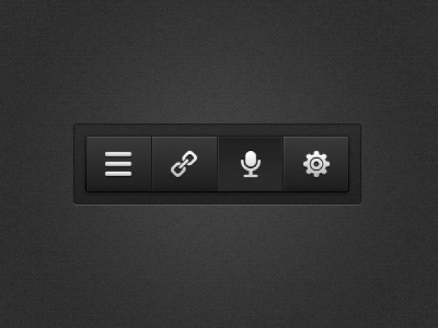 Menu preto com botões de ajustes
