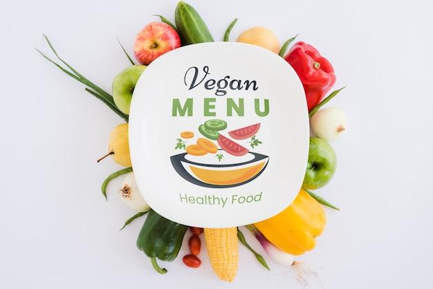 Menu vegan de conceito de comida saudável