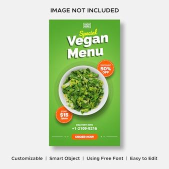 Menu vegan promo de entrega especial