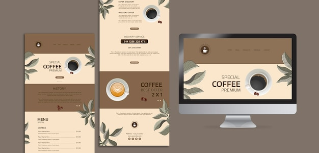 Menus de café com computador