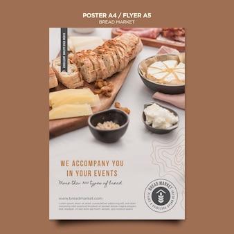 Mercado de pães com modelo de folheto de logotipo