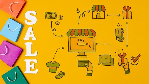 Mercado de varejo com texto de venda e sacos de papel