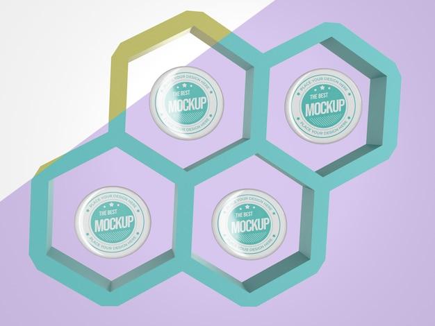 Mercadoria de mock-up abstrata com insígnias em hexágonos