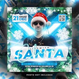 Merry christmas flyer party post premium psd