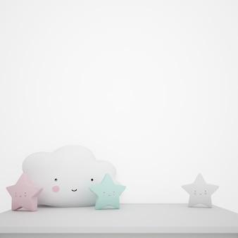 Mesa branca decorada com objetos infantis, nuvens kawaii e estrelas