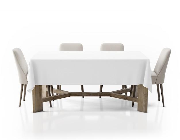 Mesa com toalha de mesa e cadeiras
