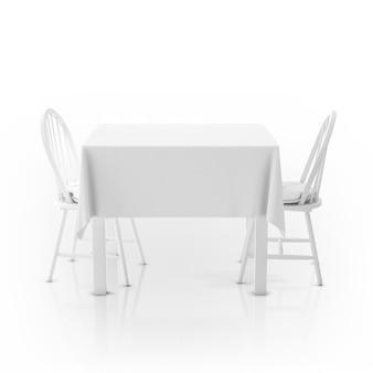 Mesa com toalha de mesa e duas cadeiras