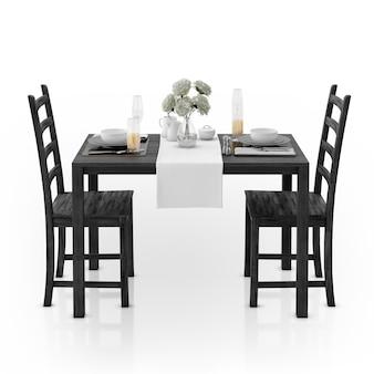 Mesa com toalha de mesa, louça e cadeiras