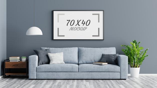 Mesa de madeira com moldura vazia e sofá na sala de estar renderização em 3d