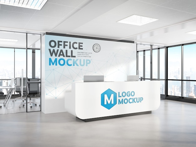 Mesa de recepção no escritório moderno mockup
