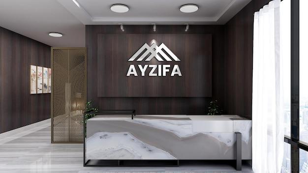 Mesa de recepção rústica e elegante com maquete de parede 3d com logotipo realista e luminoso
