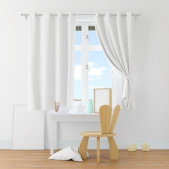 Mesa e cadeira em uma sala branca