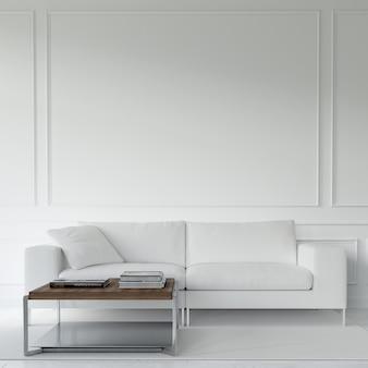 Mesa e sofá branco