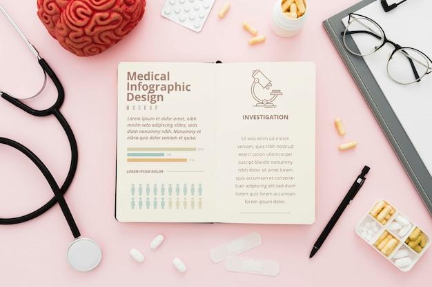 Mesa médica de vista superior com fundo rosa
