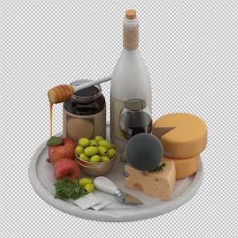 Mesa pequena com provolone vinho azeitonas maçã mel 3d render