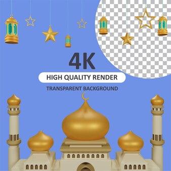 Mesquita de ouro com lanterna pendurada no fundo renderização em 3d de modelagem de personagens
