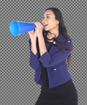 Metade do corpo 20 anos mulher asiática, cabelo preto segurando megafone azul para anunciar grande venda online isolado, pele bronzeada garota usa terno blazzer azul estúdio tiro sobre fundo branco