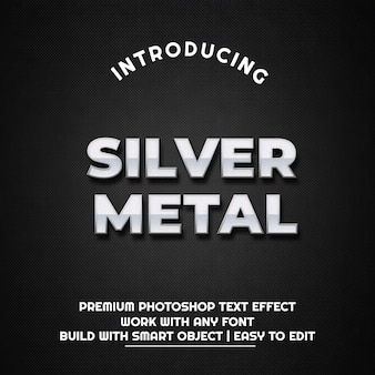 Metal prateado - modelo de efeito de texto