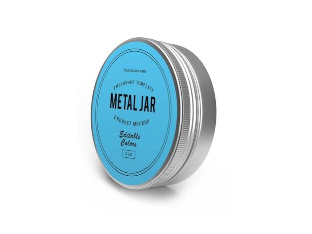 Metal tin jar 3d mockup design renderização 3d