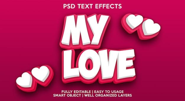 Meu amor modelo de efeito de texto