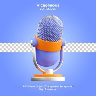 Microfone 3d render ilustração isolado psd premium