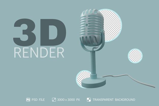 Microfone 3d, suporte e cabo com fundo isolado