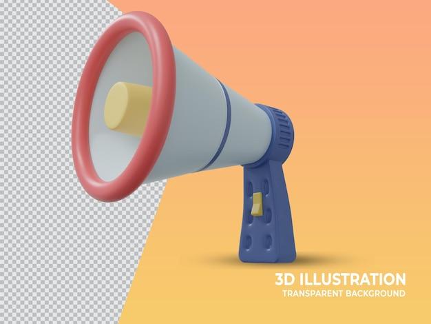 Microfone de mão de marketing transparente renderizado em 3d fofo