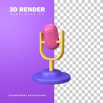 Microfone de renderização 3d na perna curta.