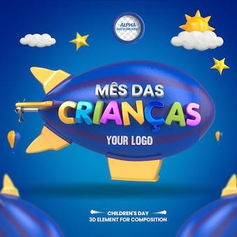 Mídia social 3d label mês das crianças para composição no brasil design em português