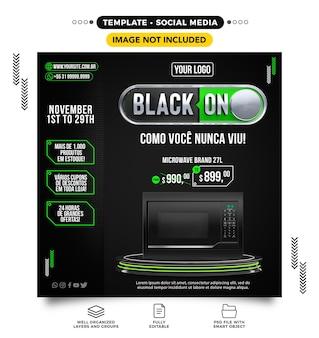 Mídia social black friday online com produtos em grandes ofertas