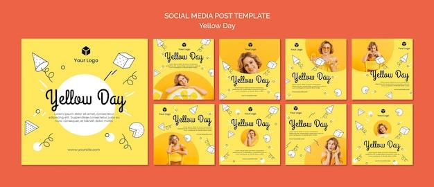 Mídia social com conceito de dia amarelo