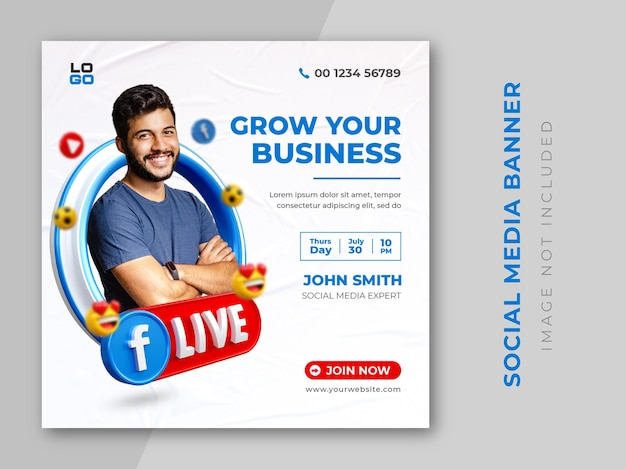 Mídia social criativa facebook ao vivo para modelo de design de promoção de marketing digital