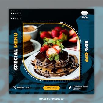 Mídia social culinária postar banner de comida