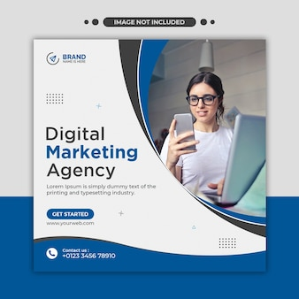 Mídia social de agência de marketing digital, instagram, banner da web ou modelo de flyer quadrado