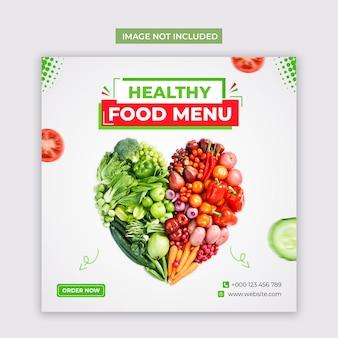 Mídia social de alimentos vegetais saudáveis e modelo de postagem no instagram