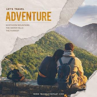 Mídia social de aventura de viagem mundial pós-2020
