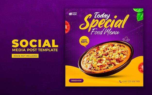 Mídia social de comida deliciosa e modelo de postagem no instagram