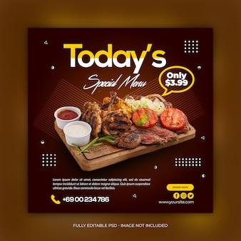 Mídia social de comida deliciosa postar modelo de banner