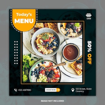 Mídia social de comida saudável postar modelos de banner