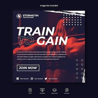Mídia social de esporte fitness instagram post ou modelo de folheto quadrado