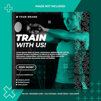Mídia social de fitness e ginásio ou modelo de banner quadrado