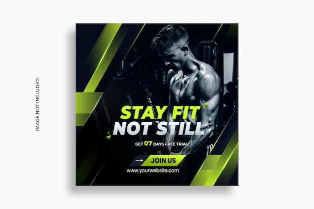 Mídia social de fitness e web banner post psd premium template