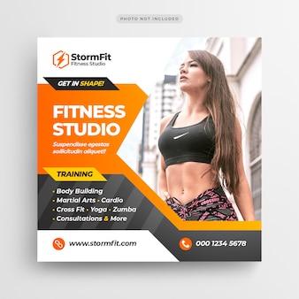 Mídia social de ginásio fitness postar banner ou panfleto quadrado