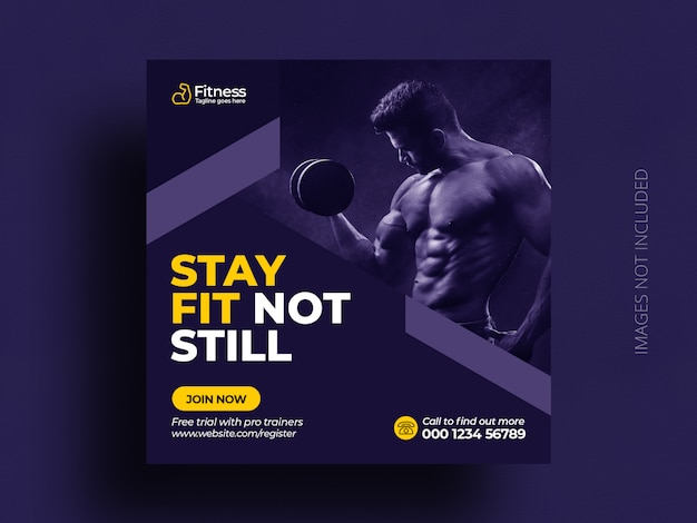 Mídia social de ginásio fitness postar banner web modelo de panfleto quadrado